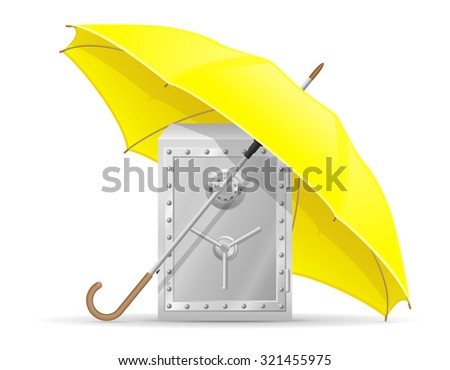 concept of protected safe with money umbrella vector illustration isolated on white background - stock vector