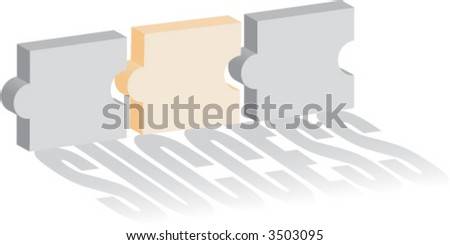 Concept of puzzle of success - stock vector