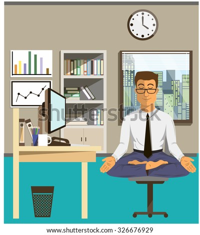 Concept of relax and work balance. Office man doing Yoga to calm down the stressful emotion from multi-tasking and very busy working. Businessman yoga vector illustration flat design - stock vector