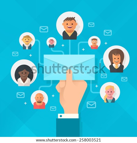 Concept of running email campaign, building audience, email advertising, direct digital marketing Human hand holding an envelope spreading information thought email distributing channel to  customers - stock vector