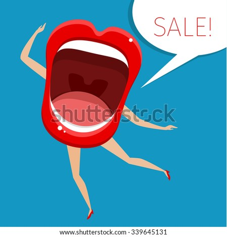 Concept of sale. Open mouth with legs and hands. Vector Illustration. - stock vector