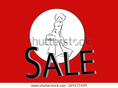 concept of sale, with woman shopping vector icon - stock vector