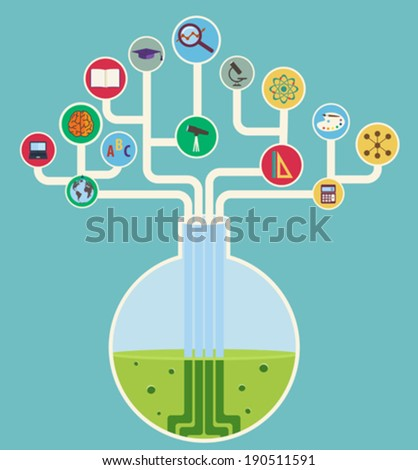 concept of science, tech tree with icons - stock vector