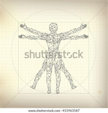 Concept Scientific Propotion Drawing Leonardo Da Stock Vector ...
