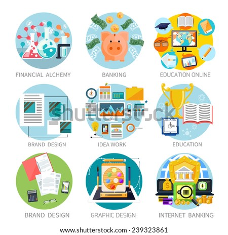Concept of set generating money banners financial alchemy, education, graphic design, brand design, internet banking, idea work and education online in flat design - stock vector