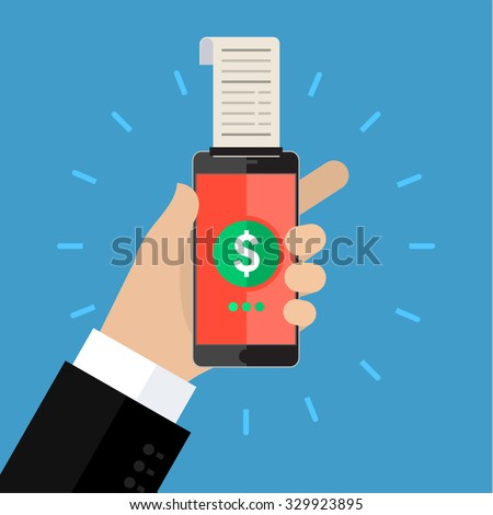Concept of shopping or mobile banking. Mobile banking with smart phone and paycheck. Flat design, vector illustration. - stock vector