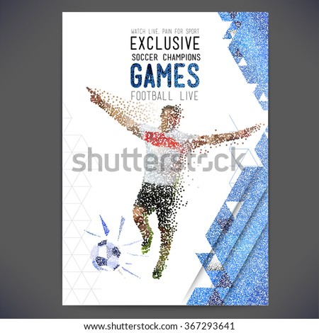 Concept of soccer player with colored dots assembled in figure football.  - stock vector