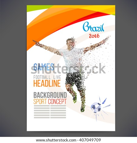Concept of soccer player with colored geometric shapes assembled in figure football.Background of different color bands intertwined.Concept flyer 2016 France football championship. Isolate vector. - stock vector