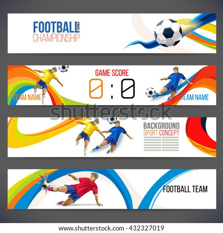 Concept of soccer player with colored geometric shapes assembled in figure football  Background of different color bands intertwined. champion football game. Table Matches. Isolate vector. Banner - stock vector