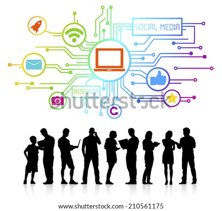 Concept of social media and a group of business people. - stock vector
