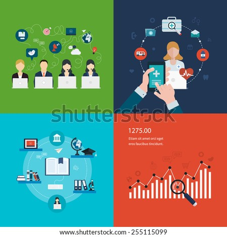 Concept of social media network, project management, strategic planning, online education and e-learning, healthcare, mobile marketing and web analytics elements. - stock vector