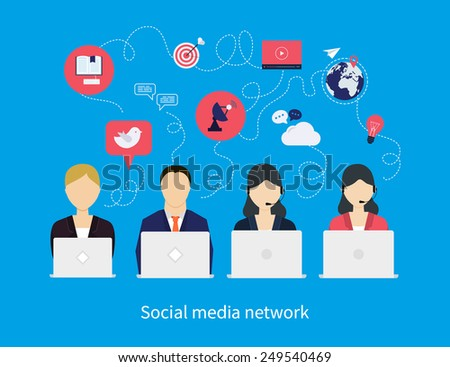Concept of social media network, project management, time management, marketing research, strategic planning. - stock vector
