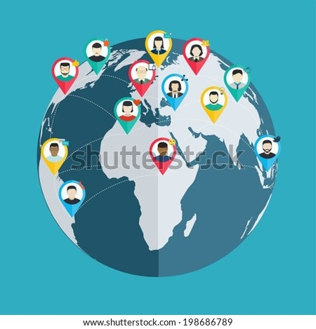 Concept of social networking, wireless connect people around the world, flat design web and mobile applications - stock vector