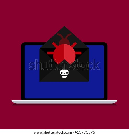 Concept of spam. Bug and virus in the programming code. Hacker activity on computer with bug. Flat design, vector illustration - stock vector