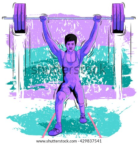 Concept of sportsman doing weight lifting. Vector illustration - stock vector