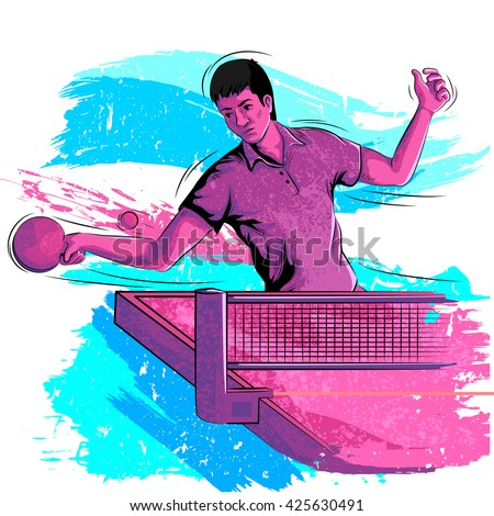 Concept of sportsman playing Table Tennis. Vector illustration - stock vector