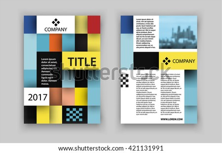 Concept of square design with photo frame. Vector illustration. Brochure template for real estate company.  - stock vector
