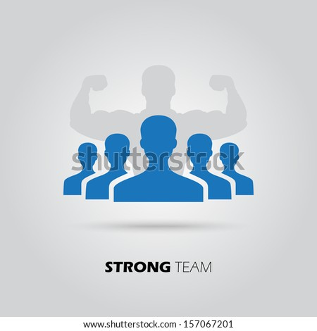 Concept of strong team, union, leadership, group, community. Vector illustration - stock vector