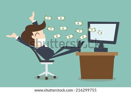 concept of success and ambition of a winner businessman - stock vector