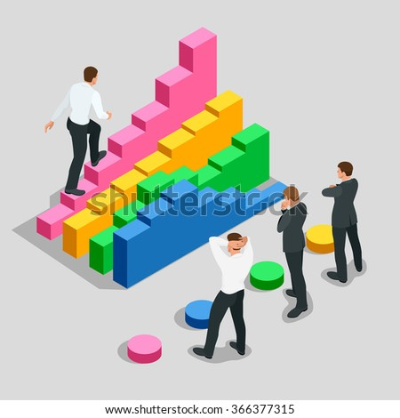 Concept of success and determination in business. Businessman in black suit climbing the stairs of success. Flat 3d vector isometric illustration - stock vector