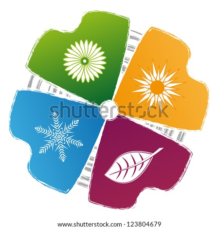 concept of symbols, spring, summer, autumn, winter - stock vector