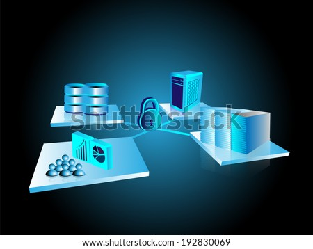 Concept of System integration and Monitoring with security - stock vector