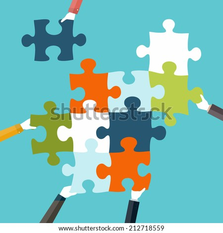 Concept of teamwork and integration with businessman holding colorful puzzle - stock vector