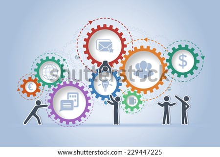 Concept of teamwork building working system of cogwheels - stock vector