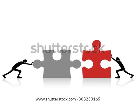 Concept of teamwork - connecting together grey and red pieces of puzzle - stock vector