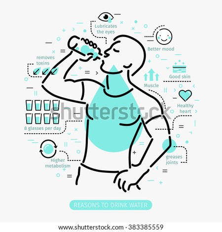Concept of The Benefits of Drinking Water. Man drinking water.  - stock vector