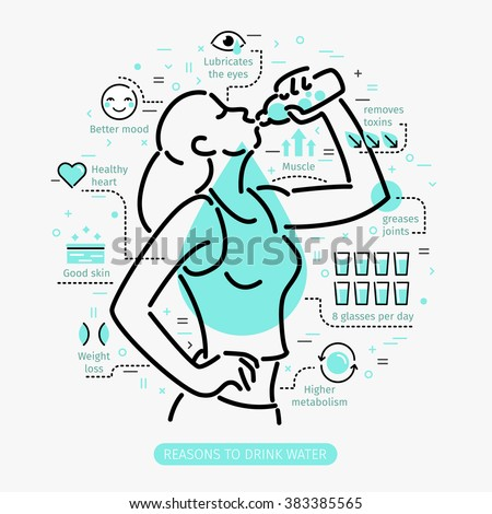 Concept of The Benefits of Drinking Water. Woman drinking water.  - stock vector