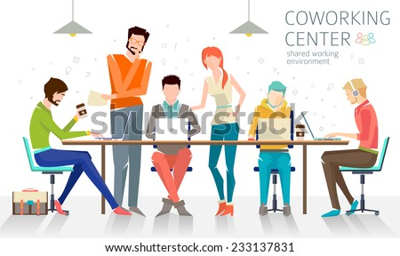 Concept of the coworking center. Business meeting. Shared working environment. People talking and working  at the computers in the open space office. Flat design style.  - stock vector