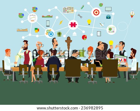 Concept of the coworking center. Business meeting.  Shared working environment. People talking and working at the computers in the office. Flat design style. vector illustration. - stock vector
