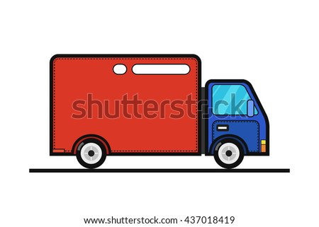 Concept of the delivery service. Illustration of truck fast shipping. Flat vector.