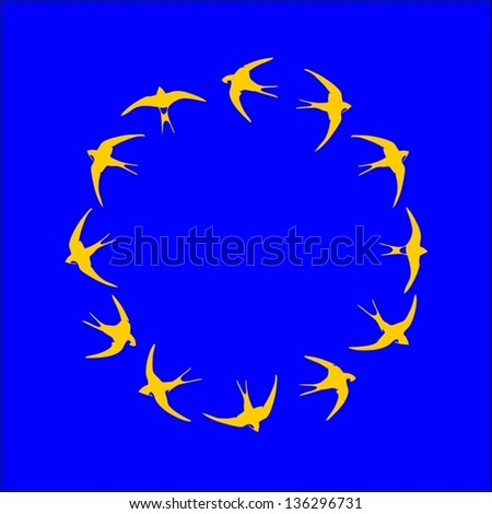 concept of the EU flag made of many Swallows - stock vector