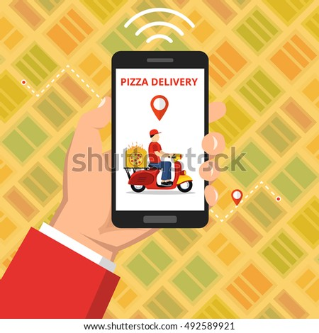 Concept of the fast pizza delivery service. Hand holding smartphone with scooter or motorbike on the screen. Flat vector illustration.