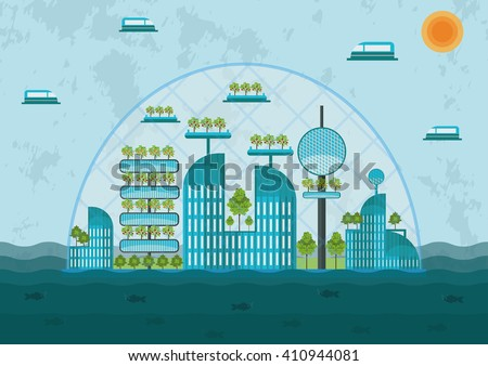 Concept of the future city - city in the ocean - stock vector