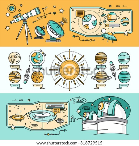 Concept of the scientific cosmos flat style. Space and Uranus, Venus and meteorite, Jupiter and Neptune, mercury and mars, planetarium and Saturn, shuttle and spacecraft illustration  - stock vector