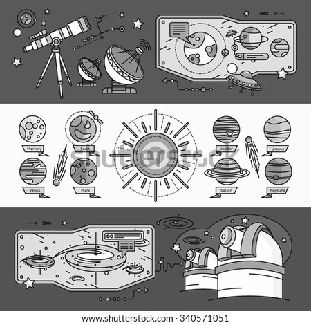 Concept of the scientific cosmos flat style. Space and uranus, venus and meteorite, jupiter and neptune, mercury and mars, planetarium and saturn, shuttle and spacecraft. White black - stock vector