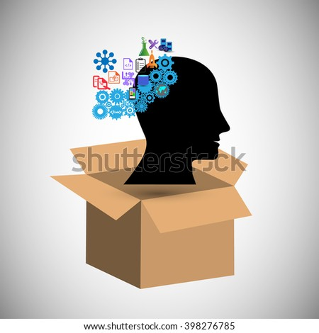 concept of Think outside the box, also Illustrates Creative Idea, brain intelligence and having an open mind for innovation, solutions ,inspiration, imagination, innovation and discovery - stock vector