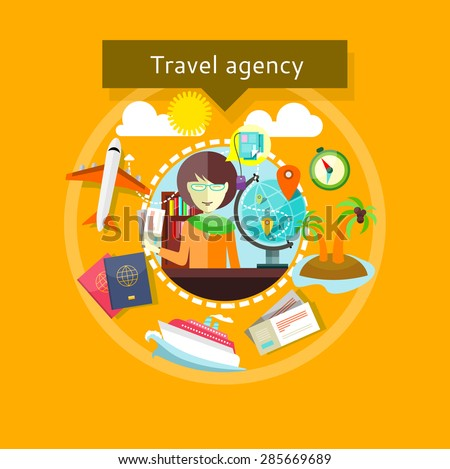 Concept of Travel agency. Lady agent with tickets in her hands and types of travel around. For web site construction, mobile applications, banners, corporate brochures, book covers, layouts etc. - stock vector