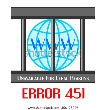 Concept of unavailable for legal reason error message with globe in cage - stock vector
