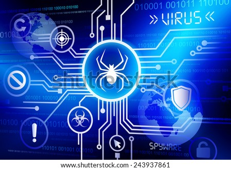 Concept of virus with a cloud computing format. - stock vector