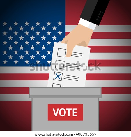 Concept of voting. Hand putting voting paper in the ballot box. US Presidential election 2016. Flat design, vector illustration. - stock vector