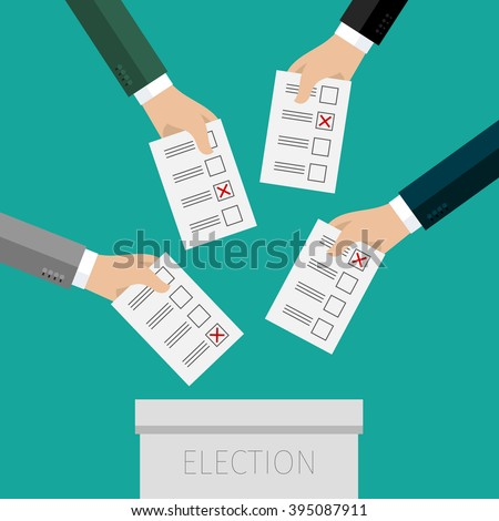 Concept of voting. Hands putting voting paper in the ballot box. Flat design, vector illustration. - stock vector