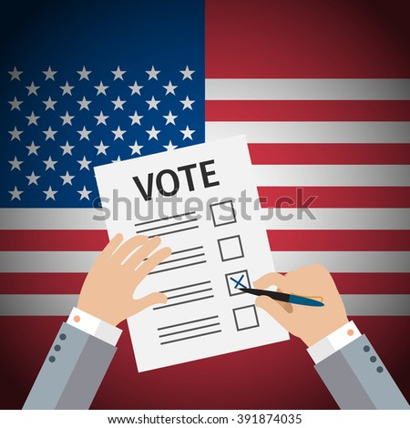 Concept of voting. Man write vote on elections. US Presidential election 2016. Flat design, vector illustration. - stock vector