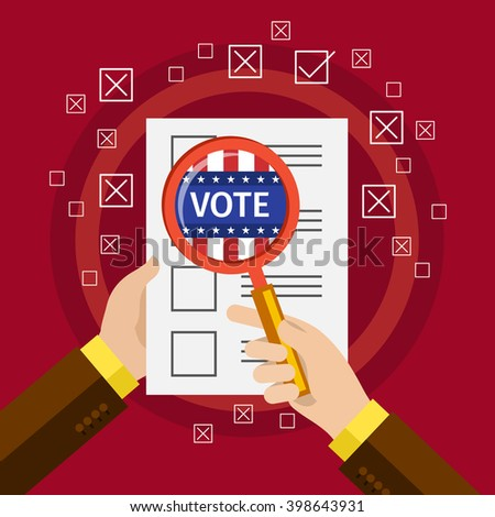 Concept of voting. US Presidential election 2016. Flat design, vector illustration. - stock vector