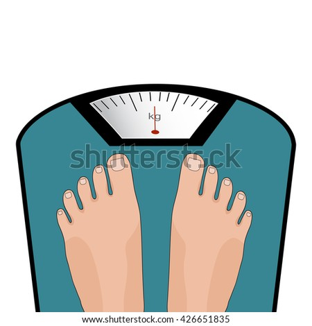 Concept of weight loss, healthy lifestyles, diet, proper nutrition. Vector feet on the scale.