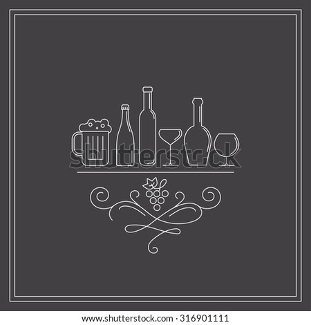 Concept of wine , liquor store, selling alcohol. isolated. Trendy modern brand design vector illustration. - stock vector
