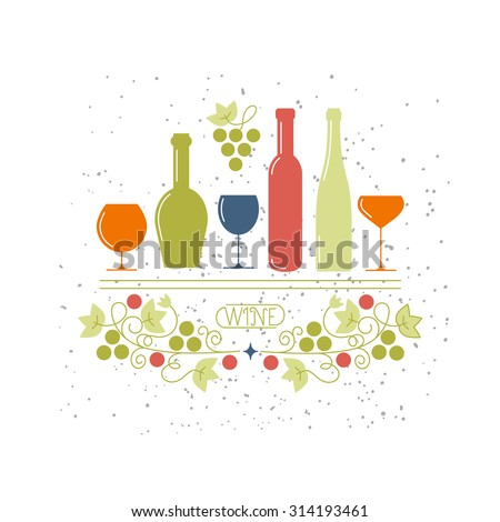 Concept of wine, liquor store, selling alcohol, restaurant menu . isolated. Trendy modern brand design vector illustration. - stock vector